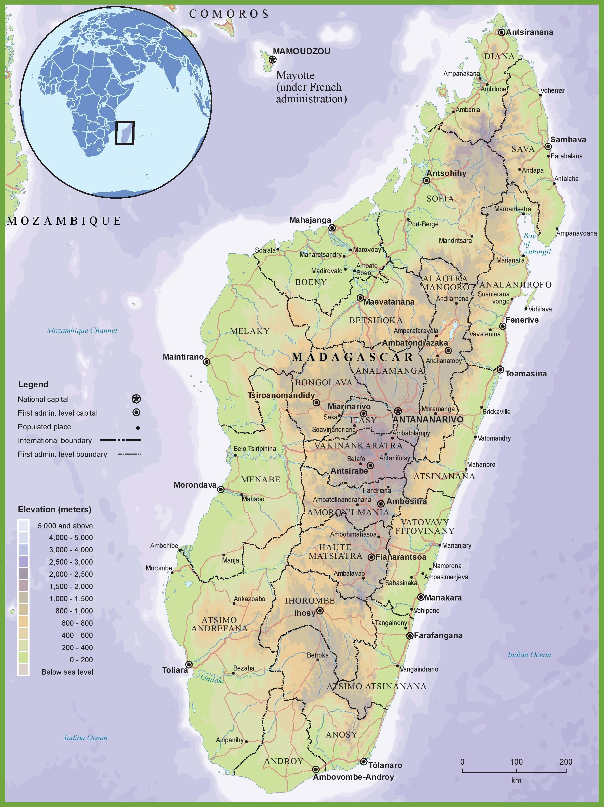 Africa Physical Map Madagascar.Physical Map Of Madagascar Map Of Physical Map Of