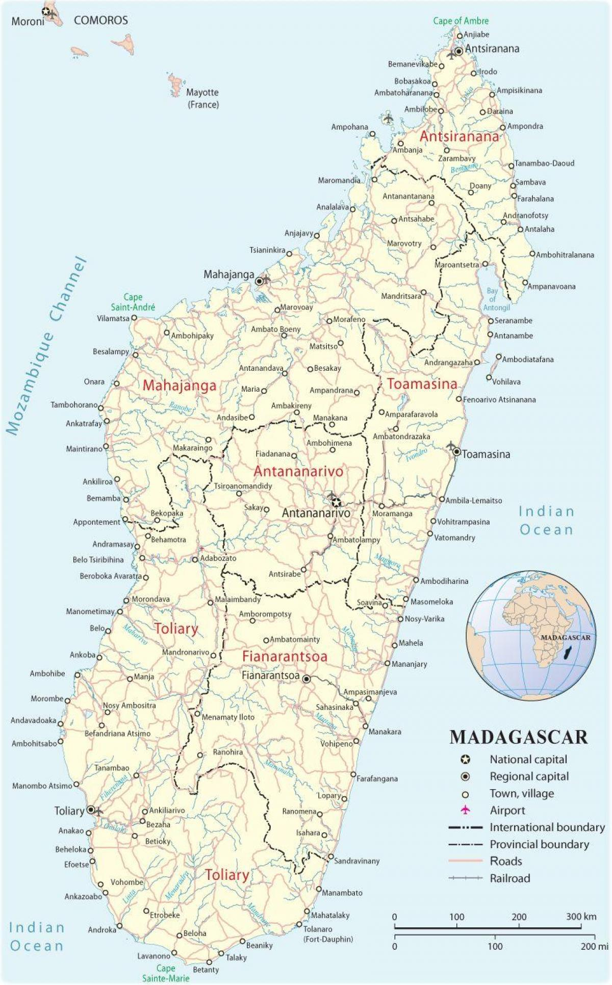 map of Madagascar airports