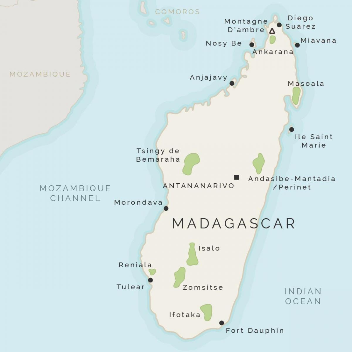 map of Madagascar and surrounding islands