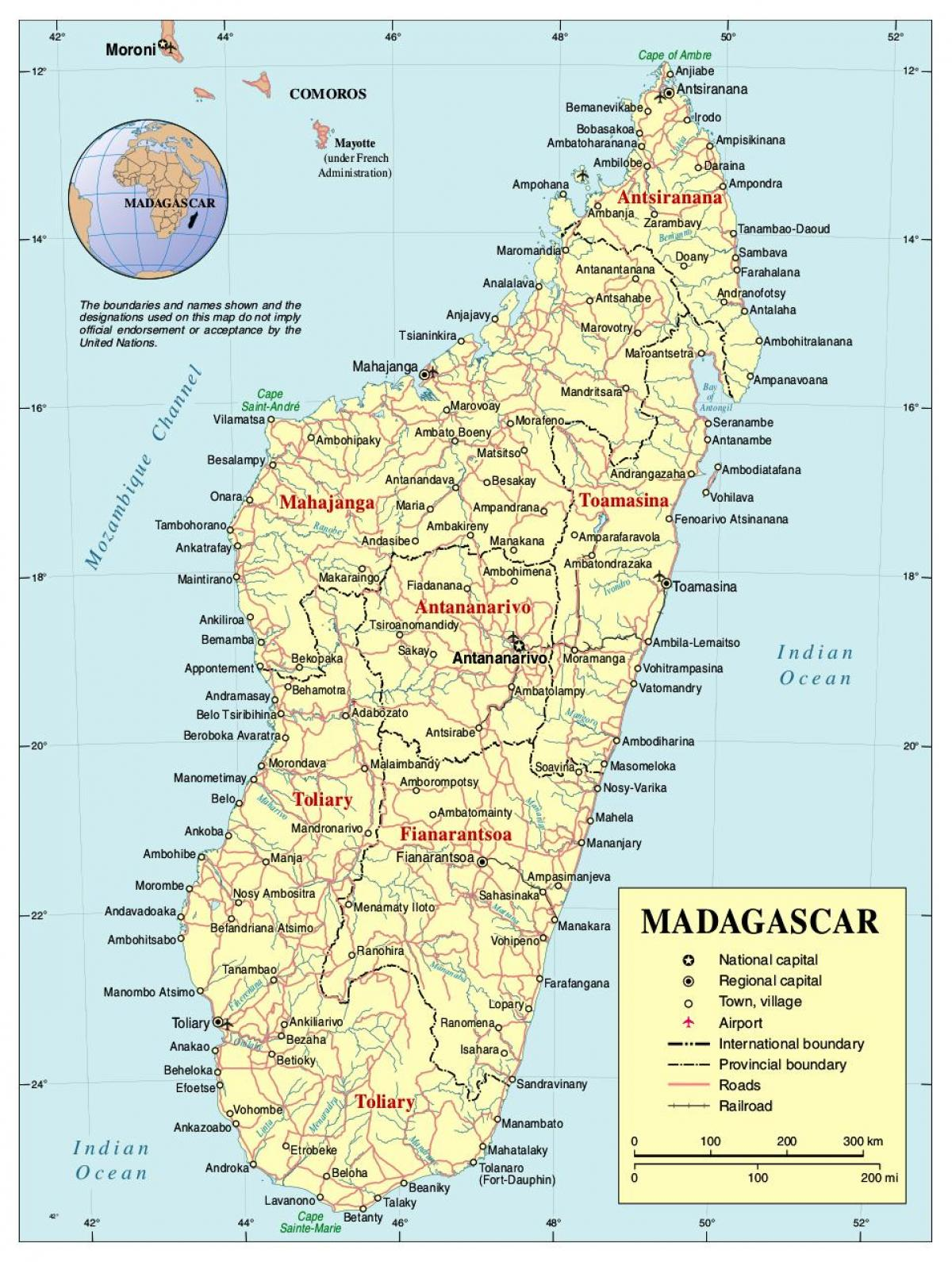 map of Madagascar road