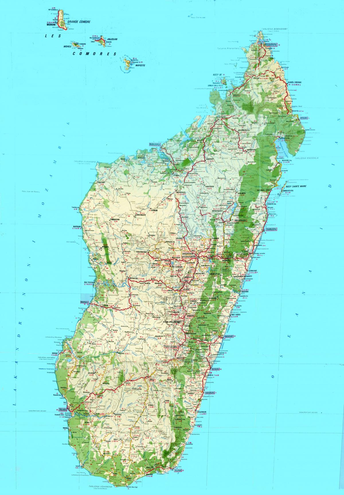 map of Madagascar topographic