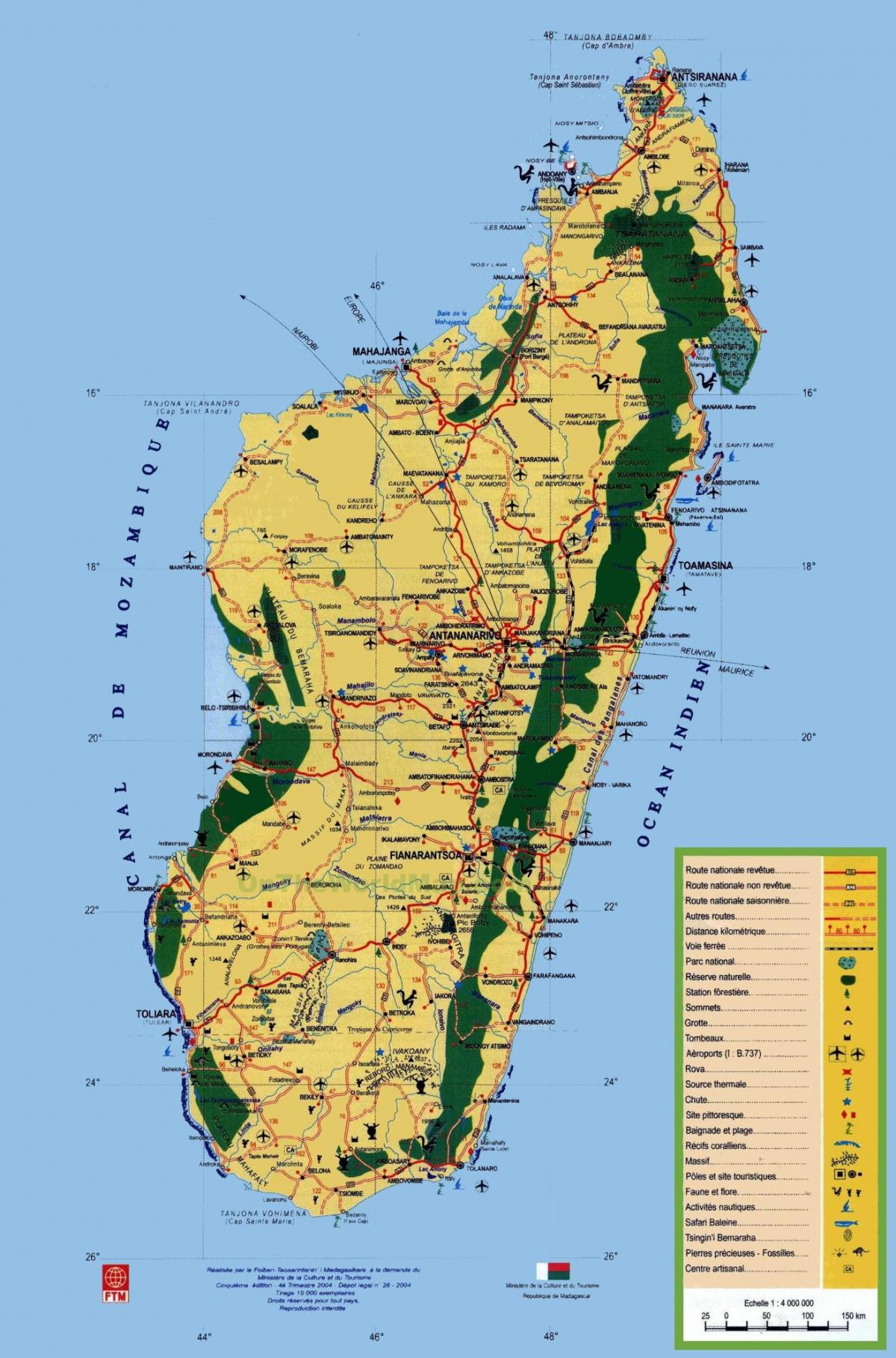 Madagascar tourist attractions map