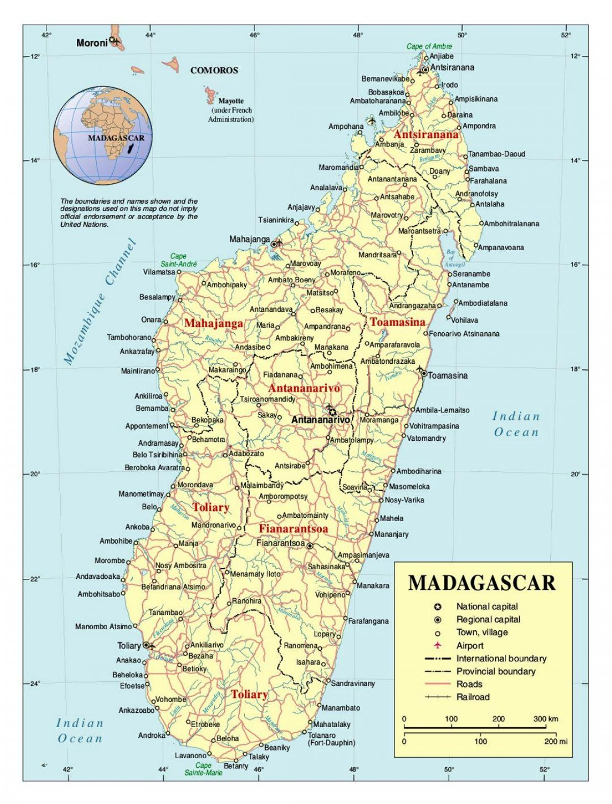 detailed map of Madagascar