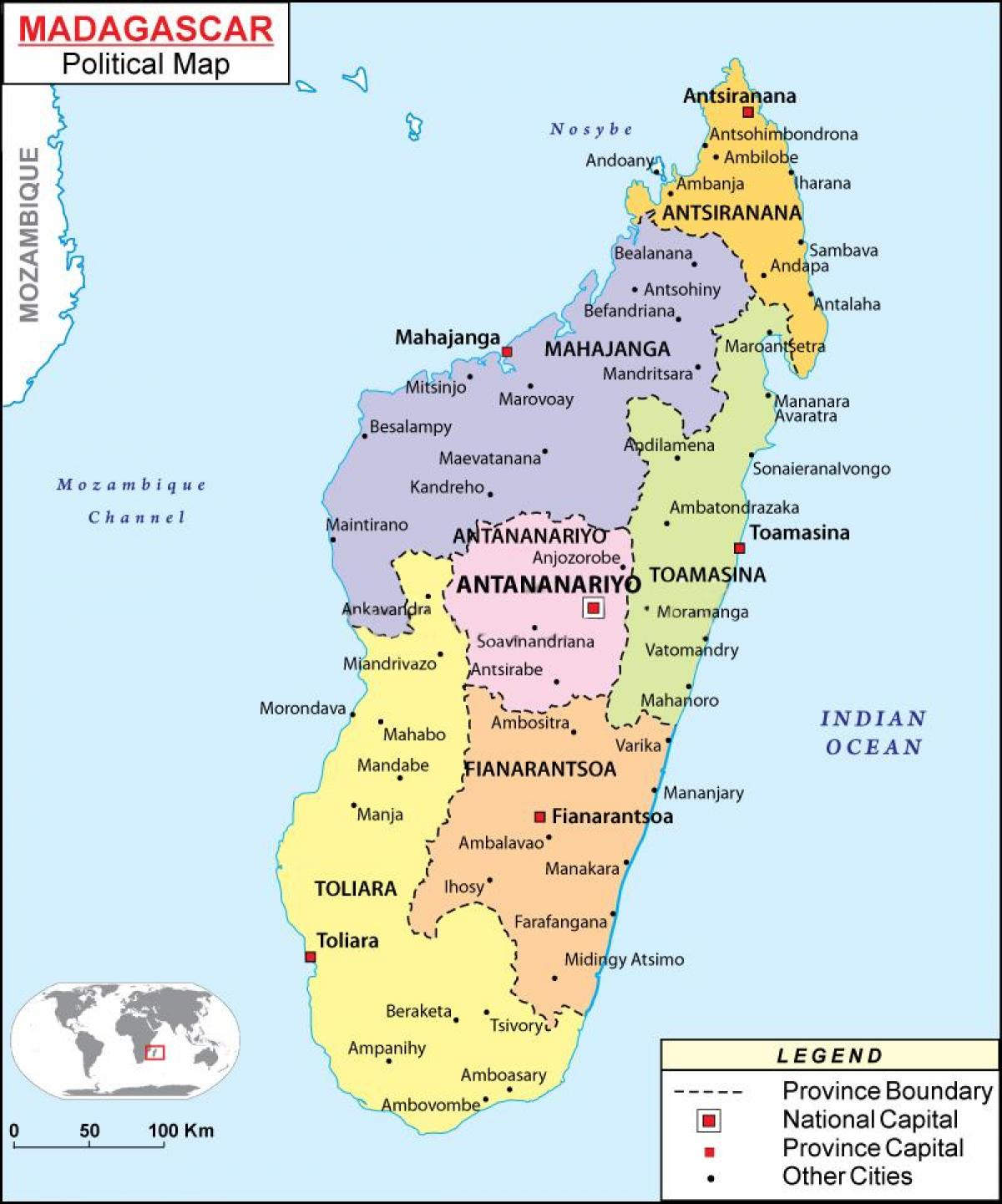 map of political map of Madagascar