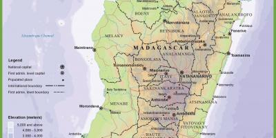 Map of physical map of Madagascar